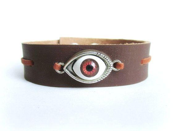 Evil Eye bracelet men men leather bracelet men by Bravemenjewelry