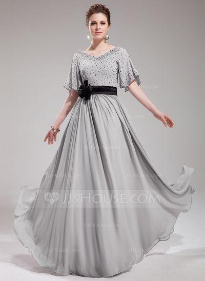 Evening Dresses - $154.49 - A-Line/Princess V-neck Floor-Length Chiffon Charmeuse Evening Dress With Sash Beading Flower(s) Sequins (017019724) http://jjshouse.com/A-Line-Princess-V-Neck-Floor-Length-Chiffon-Charmeuse-Evening-Dress-With-Sash-Beading-Flower-S-Sequins-017019724-g19724?snsref=pt&utm_content=pt