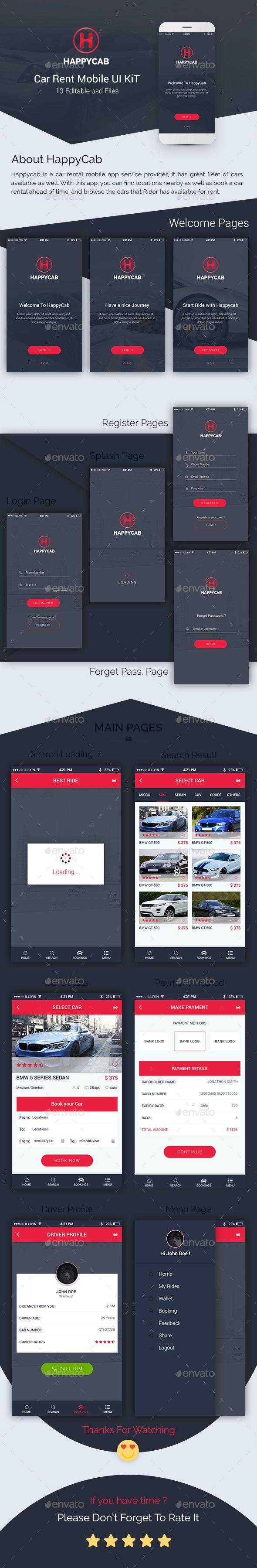 Happycab car rent mobile ui kit user interfaces