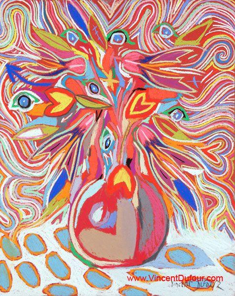 """Tableau """"Bouquet Van Gogh"""" de Vincent Dufour (Pastel sec 40/50cm). Découvrez tous les tableaux """"Figuration libre"""" disponibles sur http://www.vincentdufour.com/fr/29-figuration-libre # art, pastel, peinture, tableau, bouquet, fleur"""
