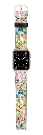 Casetify Apple Watch Band (38mm) Saffiano Leather Watch Band - Watercolor Floral Mix by Pineapple Bay Studio