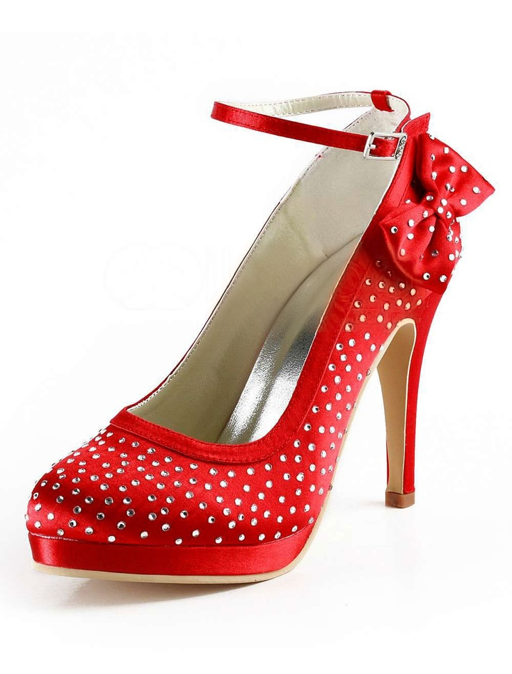 Red Ankle Strap Rhinestone Satin Faux Fur Bridal Shoes - Wedding  Shoes