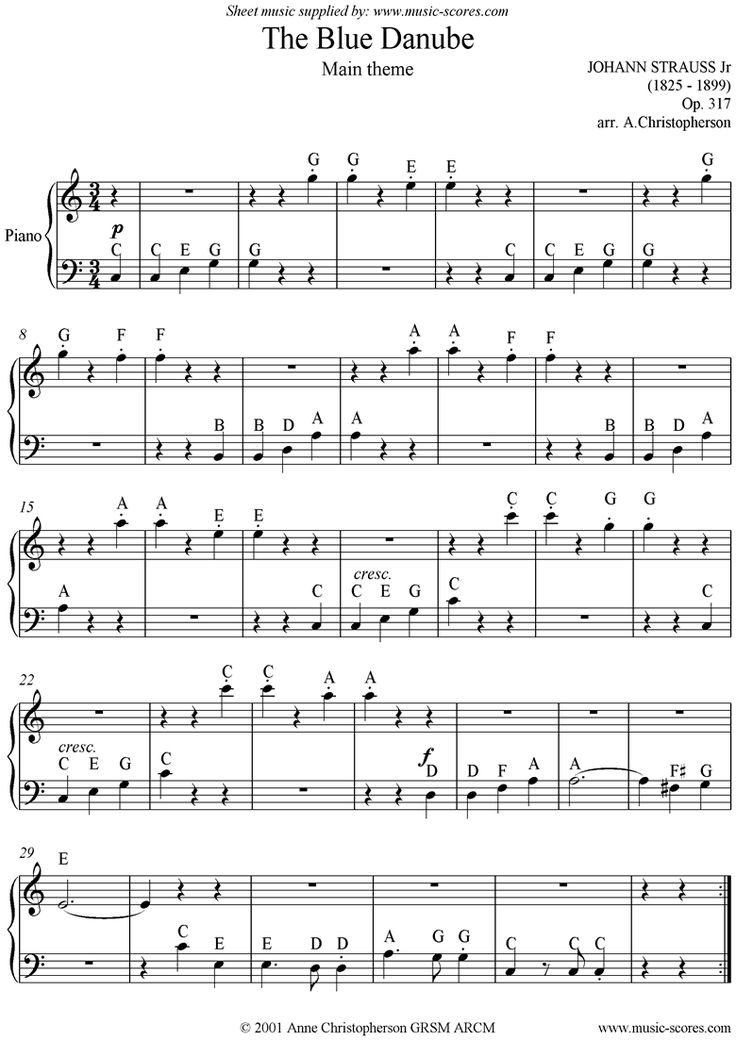 the blue danube waltz with note names for easy piano download includes version without note names by johann jr strauss sheet music for piano classical