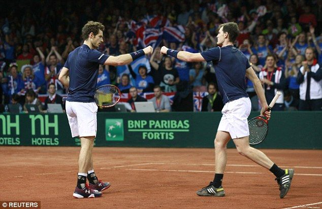 (L-R) Jamie and Andy Murray gave Britain a crucial 2-1 lead in the Davis Cup final...