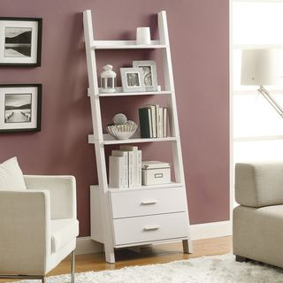 @Overstock.com - White Ladder Bookcase With Drawers - Stack your tomes and memoirs in style with this elegant white ladder bookcase featuring two storage drawers. This convenient piece adds function, utility and beauty as part of the decor of any space.  http://www.overstock.com/Home-Garden/White-Ladder-Bookcase-With-Drawers/8277929/product.html?CID=214117 $219.99