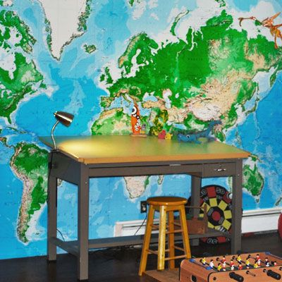 wall map: Study Area, Kids Stuff, For Kids, Homework Area, Kid Decorating, Kids Decor, Photo, Kids Study