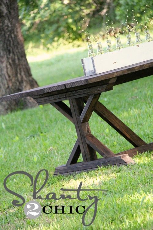 1000 images about rustic diy table on pinterest farm for Post trestle farm table plans