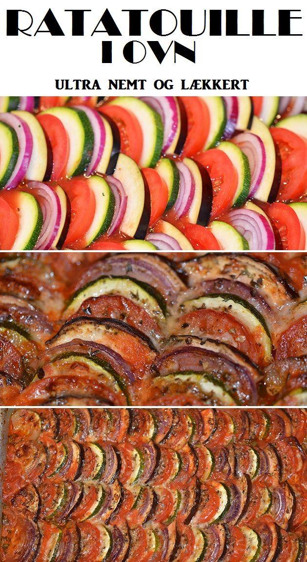 Skiveskårne tomater, aubergine, squash og rødløg med en skøn tomatsauce og parmesanost på toppen. Og det hele bliver bagt i ovnen, så det er ultra nemt.