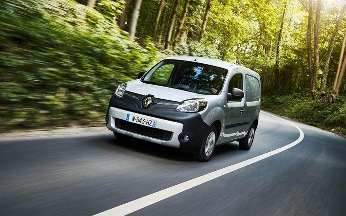 Descargar fondos de pantalla Renault Kangoo Maxi ZE, 4k, 2018 coches, coches eléctricos, furgoneta Renault Kangoo, la carretera, el nuevo Kangoo, Renault
