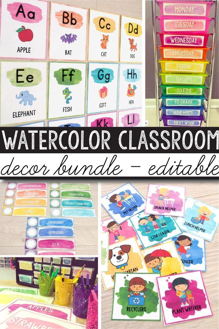 Watercolor Classroom Decor Classroom Themes Decor Bundles