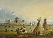 The first Fort Laramie as it looked prior to 1840. Painting from memory by Alfred Jacob Miller