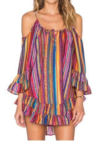 Multicolor Printed Ruffled Mini Strap Dress