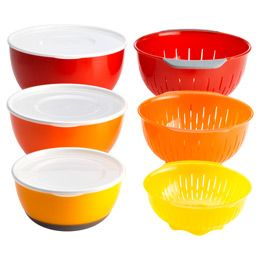 9-Piece Nesting Bowl & Colander Set by OXO® - I love the bright colors & matching colanders! The nesting/space saving element is a great bonus :)