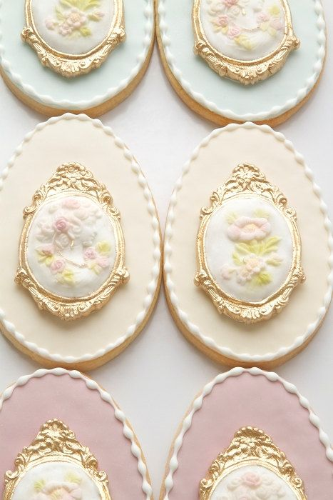 I've never seen such elegant cookies in my life!  Victorian Cameo Egg Cookies by bbsweetslove on Etsy, $66.00