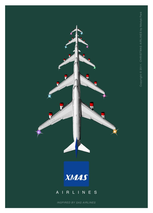 Christmas Airlines. Postcard Series by Nikolya Pere, via Behance