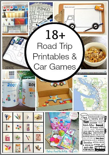 18+ Road Trip Printables and Car Games including activity bins, travel games, snack ideas, and map games!
