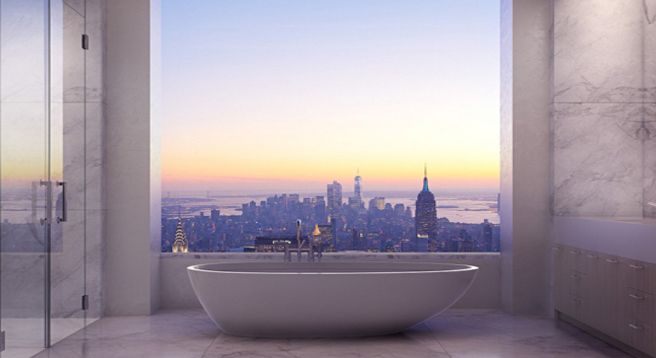 Room with a view... the bathroom in a 96th floor New York City Penthouse apartment worth $80 million