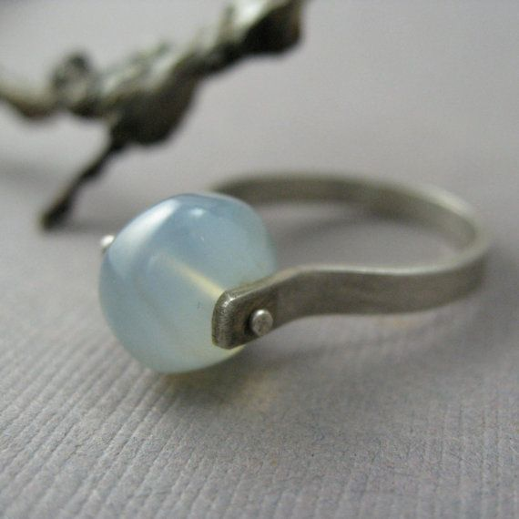 Sterling Silver and Blue Chalcedony Bead Ring on Etsy, $50.00