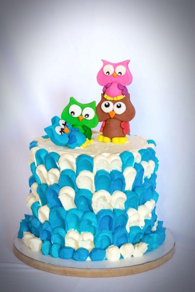 Little owls ombré cake