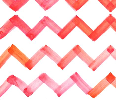 cestlaviv_chevron_pinkorange fabric by cest_la_viv on Spoonflower - custom fabric