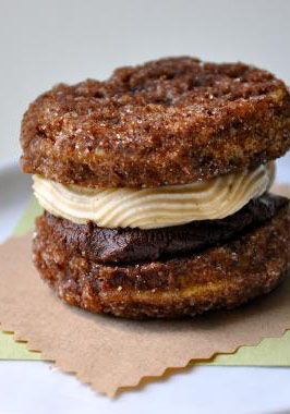 Peanut Butter & Chocolate Whoopie Pie Minis - just the photo is making me drool...