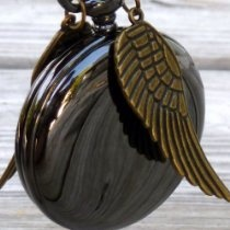 Harry Potter golden snitch style Flying ball necklace Time Turner Fantasy Steampunk Pocket Watch pendant charm Victorian