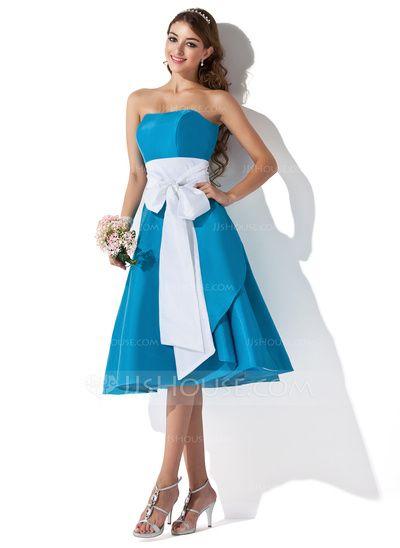 Bridesmaid Dresses - $91.99 - A-Line/Princess Sweetheart Knee-Length Taffeta Bridesmaid Dress With Sash (007004276) http://jjshouse.com/A-Line-Princess-Sweetheart-Knee-Length-Taffeta-Bridesmaid-Dress-With-Sash-007004276-g4276