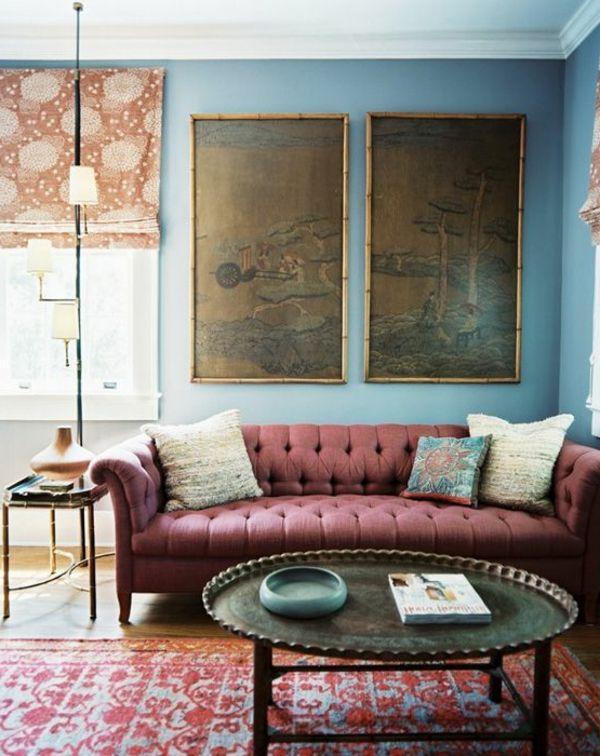 ... Farben Wandgestaltung Blau wandgestaltung wohnzimmer kolonialstil