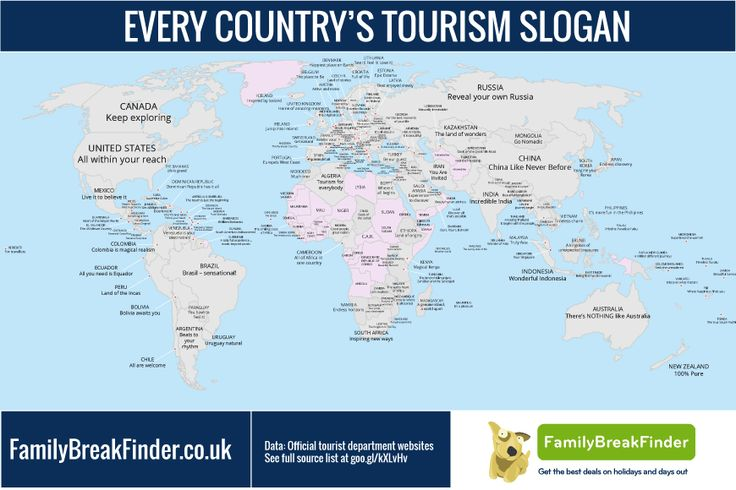 A Clever Map That Features Country Tourism Slogans From All Over the World