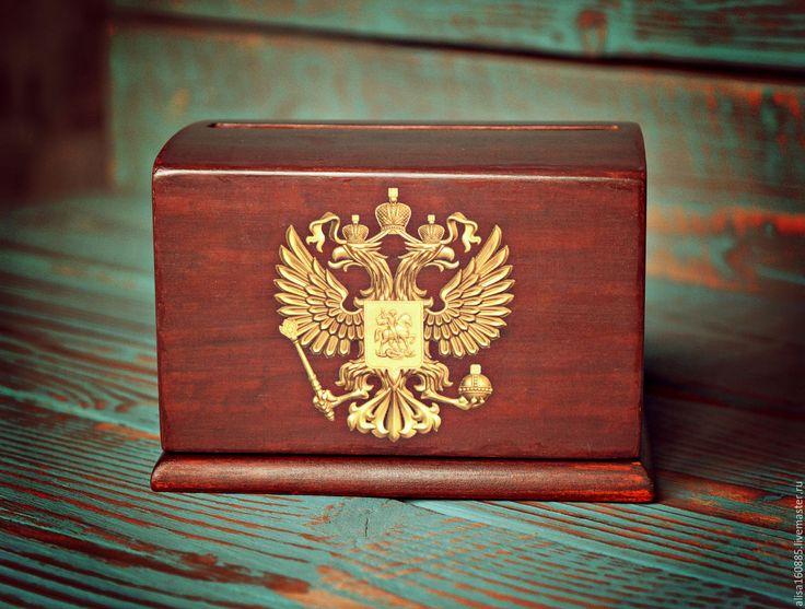 Купить Сигаретница автоматическая с гербом РФ - коричневый, сигаретница, портсигар, деревяная сигаретница, сигаретница купить