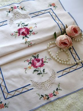 Vintage Runner Embroidered Roses Cross Stitch by mailordervintage