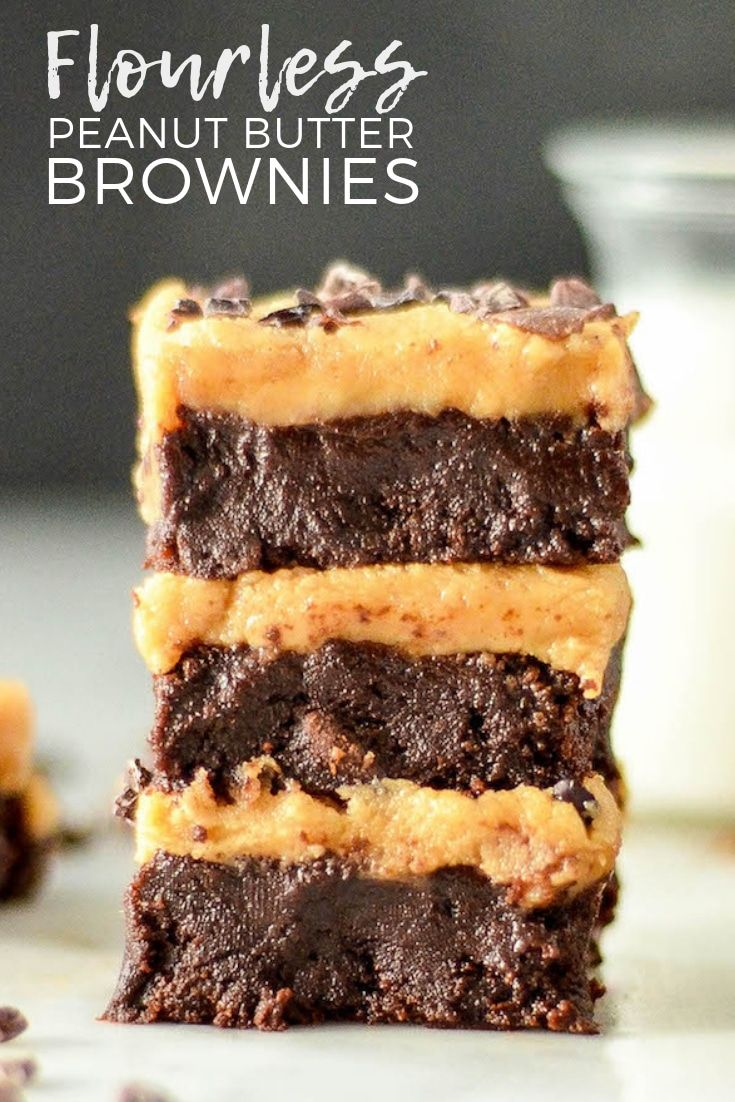 These Flourless Peanut Butter Brownies Are Made With Only 9