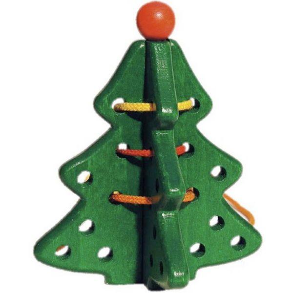 Ένα ξύλινο ελατάκι με κορδόνια. Τα παιδιά διασκεδάζουν να κάνουν περίπλοκα περάσματα και να δένουν κόμπους. Από 3 ετών και άνω.