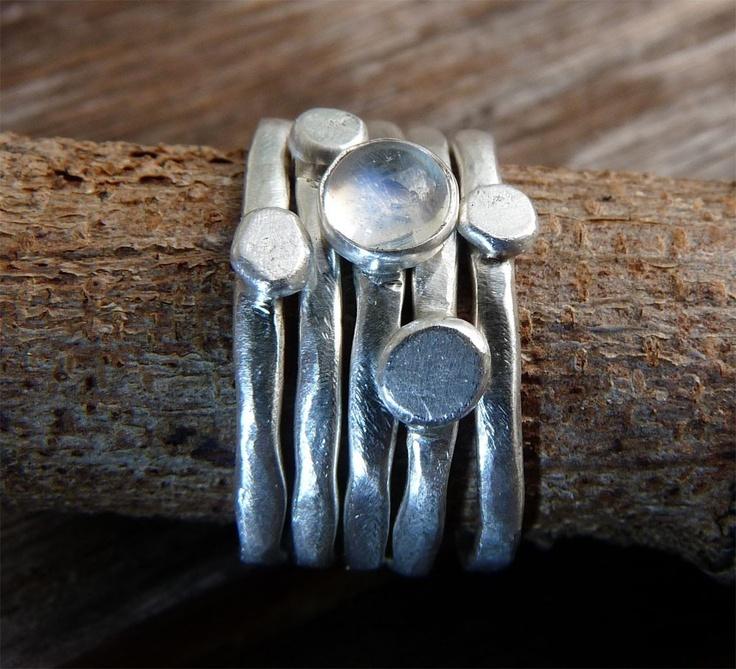 Set of 5 Organic Pebbles Stacking Sterling Silver Rings- Rainbow Moonstone. $85.00, via Etsy.