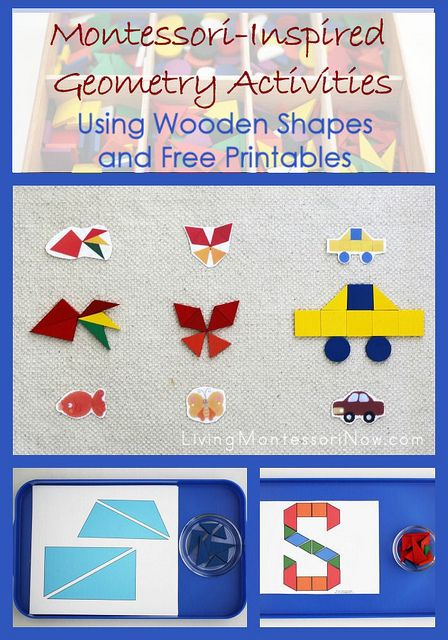 Free pattern block printables and ideas for creating Montessori-inspired activities with wooden shapes and free printables