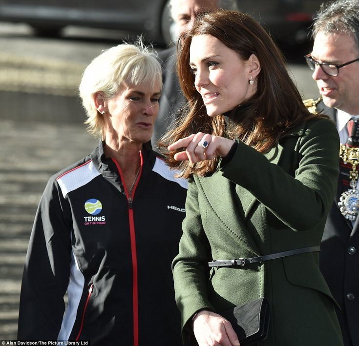 Judy greeted the Duchess in full sports gear ahead of the afternoon's activities, which th...