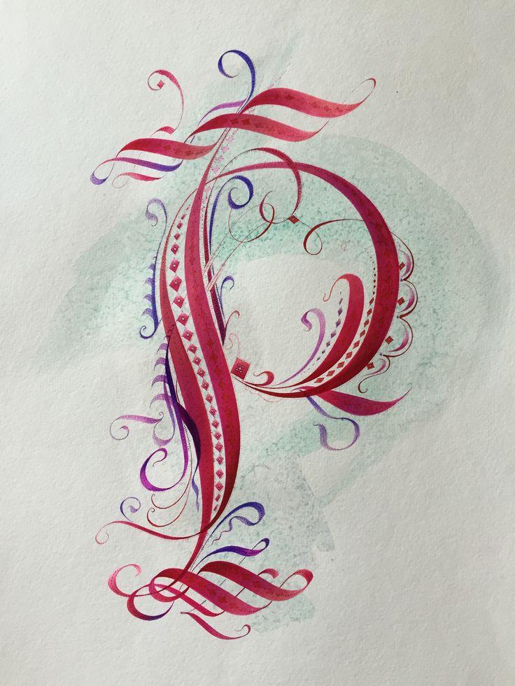 """""""P"""" Calligraphic Cadel Capital (Versal) Original Design"""