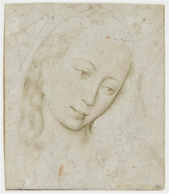 Rogier Van der Weyden (1400-1464), Head of the Virgin, 1441, study, silverpoint on paper,