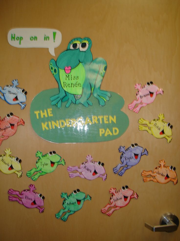 frog+theme+preschool+decorating+classroom   Students are greeted by personalized frogs when they enter the ...