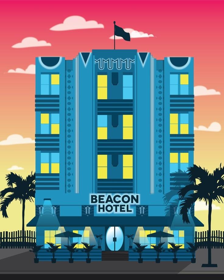 art deco hotels illustration by alex asfour art deco pinterest design och inspiration. Black Bedroom Furniture Sets. Home Design Ideas