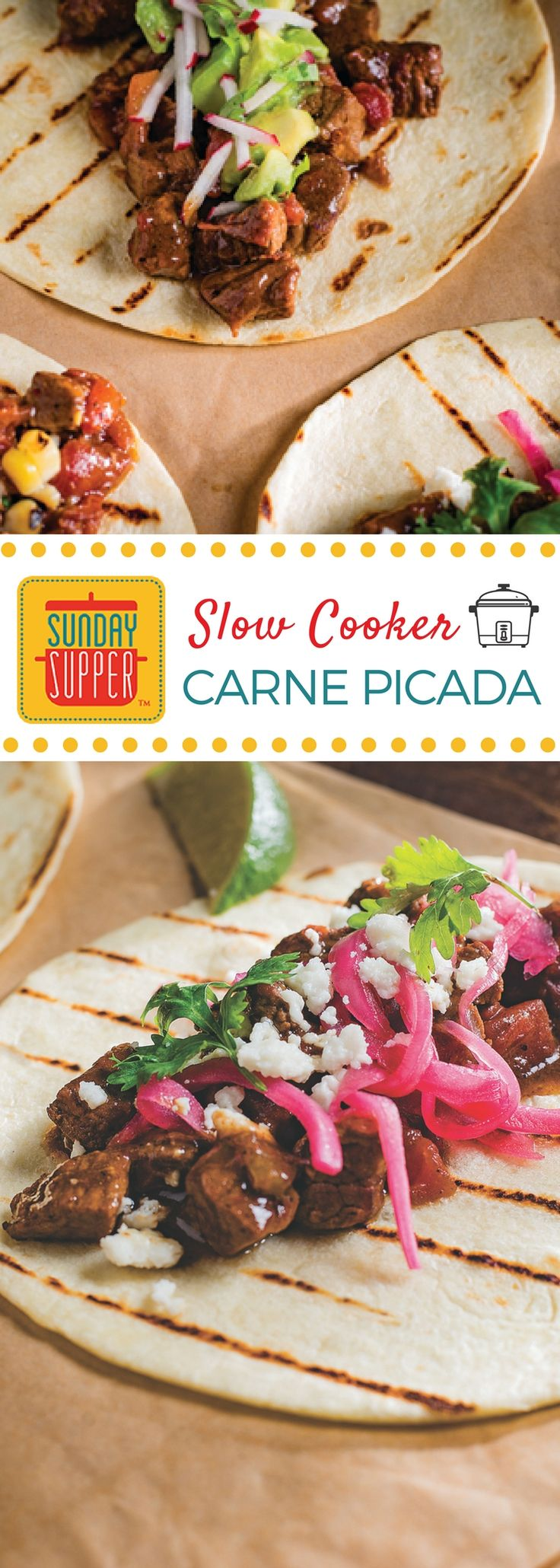 Slow Cooker Carne Picada boasts a spicy tomato gravy and the tenderest of beef chunks. Serve this Sunday Supper recipe in tortillas or over rice. #BestBeef #SundaySupper
