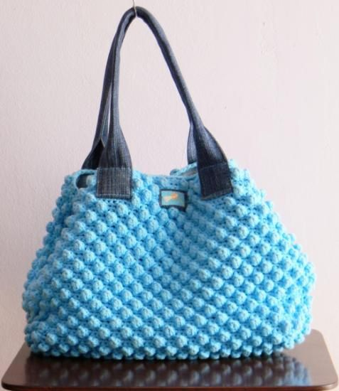 blue bag  algodon 100%,cotton 100% ganchillo,90€ crochet