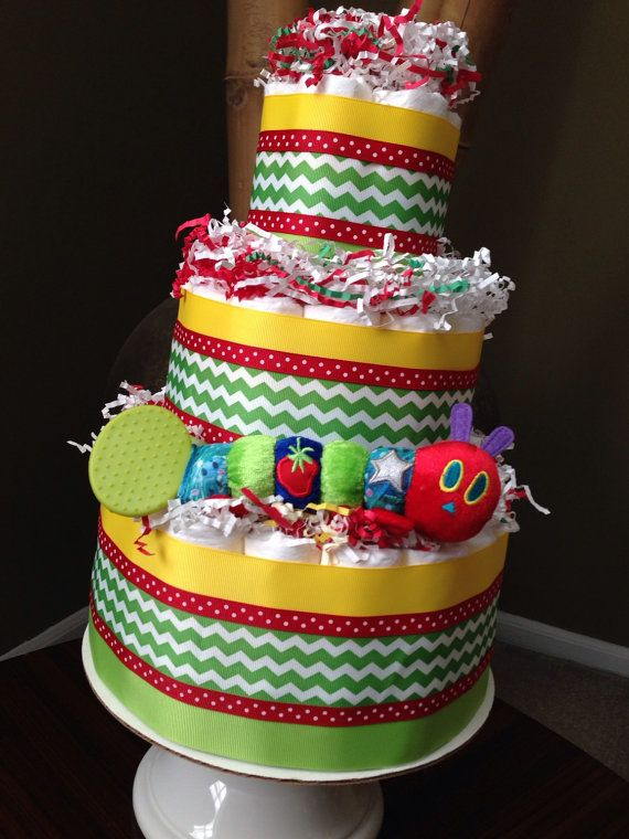 The Very Hungry Caterpillar Diaper Cake for Baby Shower Centerpiece or New Baby Gift, Build a Library Baby Shower, Book Baby Shower