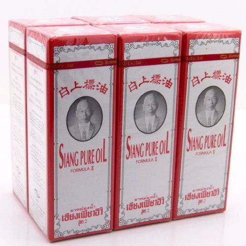 6 X 25 Cc. Siang Pure Peppermint Menthol Oil Aroma Relieve Dizziness White Formu Made in Thailand by Siang Pure. $26.20. 6 x 25 cc. SIANG PURE PEPPERMINT MENTHOL OIL AROMA RELIEVE DIZZINESS WHITE FORMU made in Thailand. Brand : SIANG PURE Product Size : 6 x 25 cc. Condition : Brand new & Never used with a seal pack   Siang Pure Oil peppermint white    Decription :          Siang Pure Oil is combination of herbal ingredient that truly work to relieve many bodily discomforts, ...