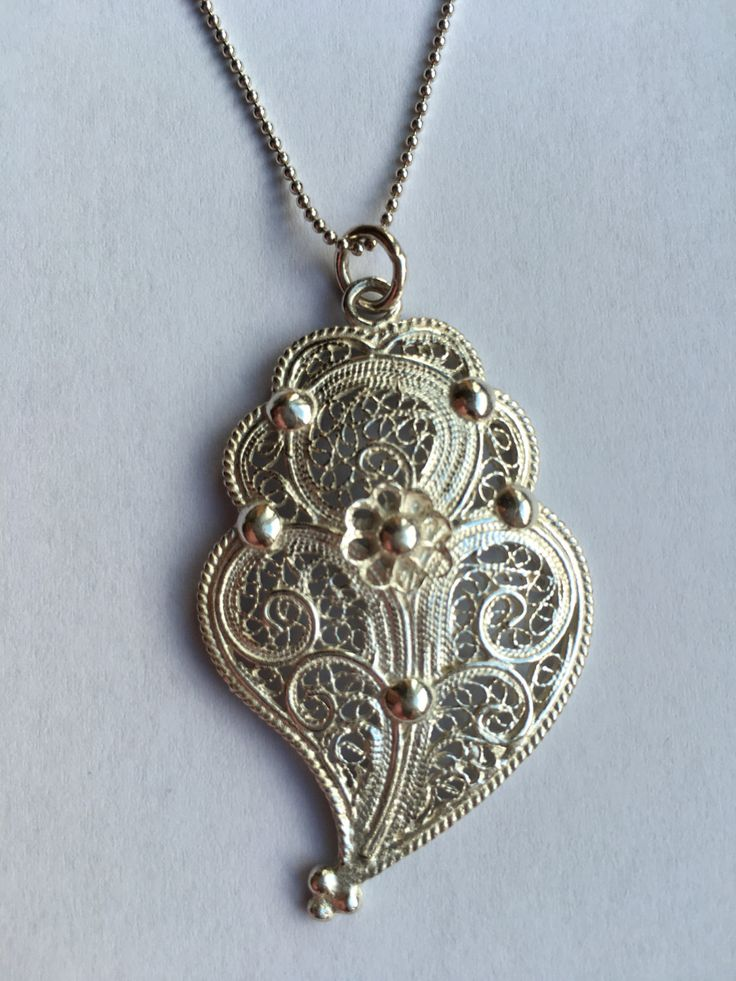 Silver Portuguese Filigree Heart Necklace.Icon of independence! by AFMJewelryDesigns on Etsy