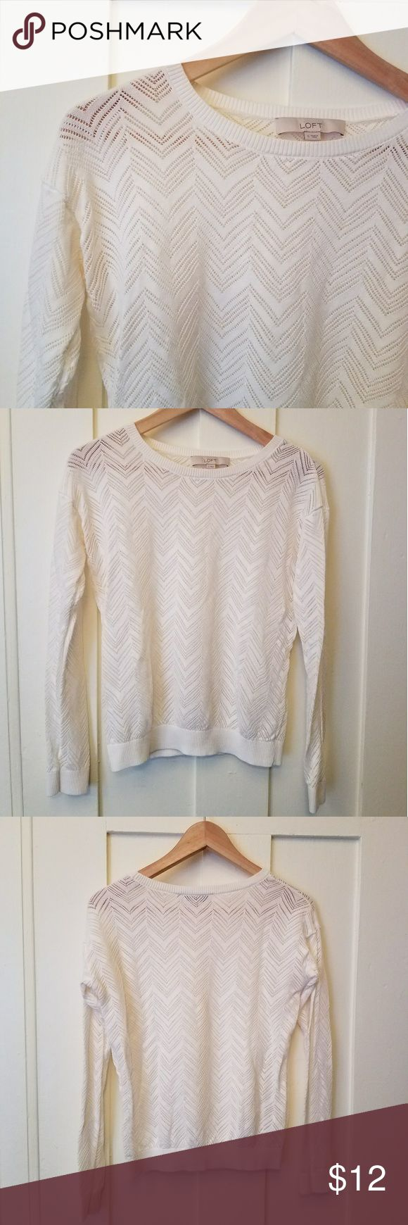 Loft chevron top Lightweight sweater type material in a cool chevron pattern. Perfect for spring and late summer. Size small, in good used condition. No obvious flaws other than the inside body tag being carefully cut out.  This top is also included as part of a bundle of 4 b&w LOFT sweaters in my closet. Take a look, make an offer! LOFT Tops