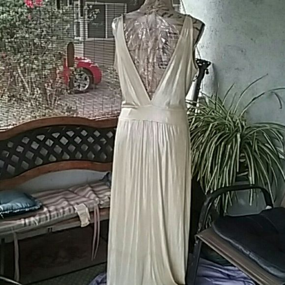 Evening dress. Nwot symphony gold metallic evening dress great for Holiday parties.  Necklace sold separ ately or bundle. Dresses Maxi