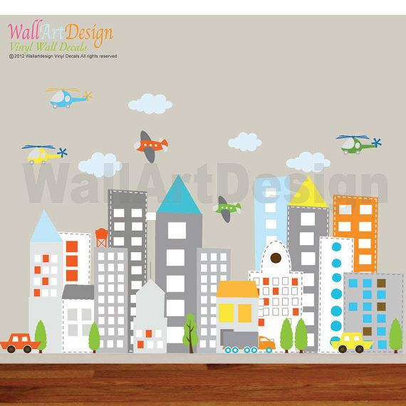 Kids Vinyl Wall Sticker Decal Art city buildings with cars trucks helicopter airplane Children Nursery Baby Kid  Room via Etsy