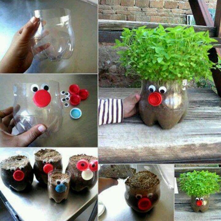 Coole Bastelidee mit Plastikflaschen für kreative Blumentöpfe   – Gratar