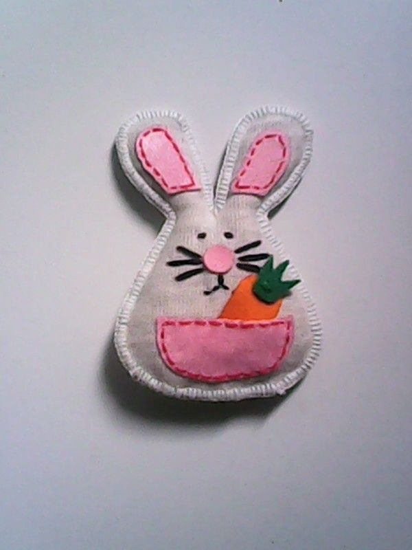 Fabric brooch rabbit by olip pia handmade